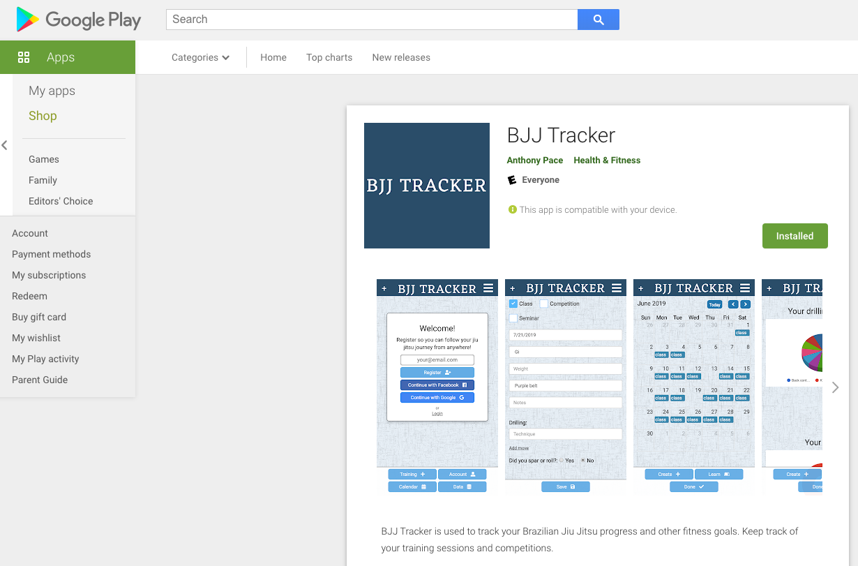 BJJ Tracker in the Google Play Store.