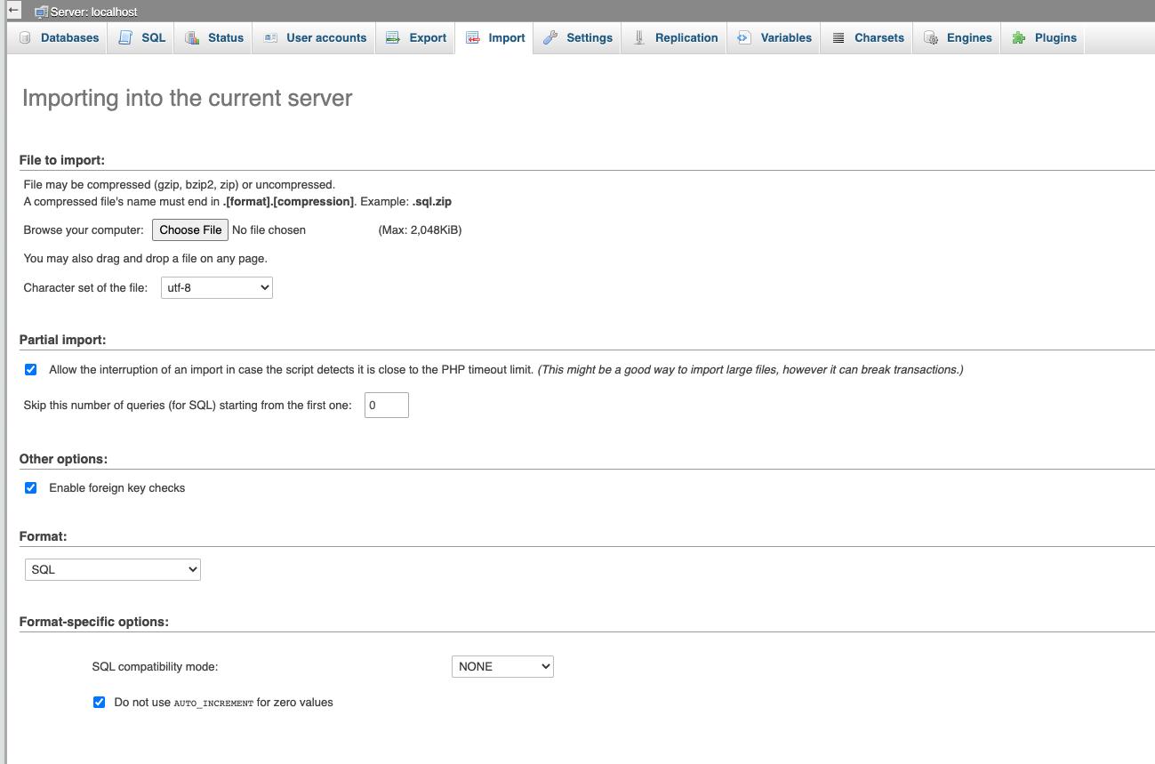 phpMyAdmin import screen
