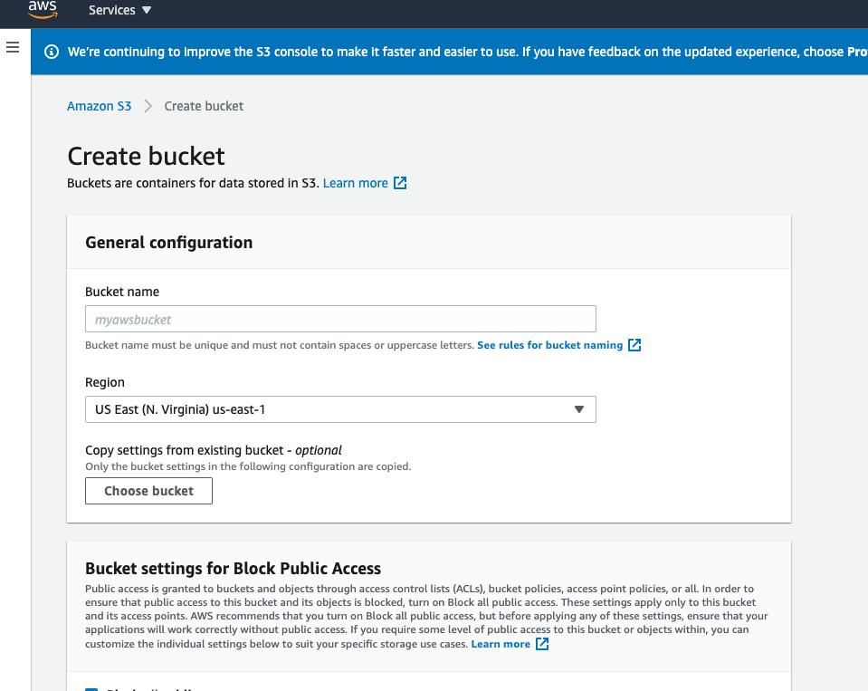 create new s3 bucket