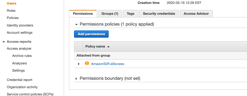 IAM user in AWS with permissions for S3
