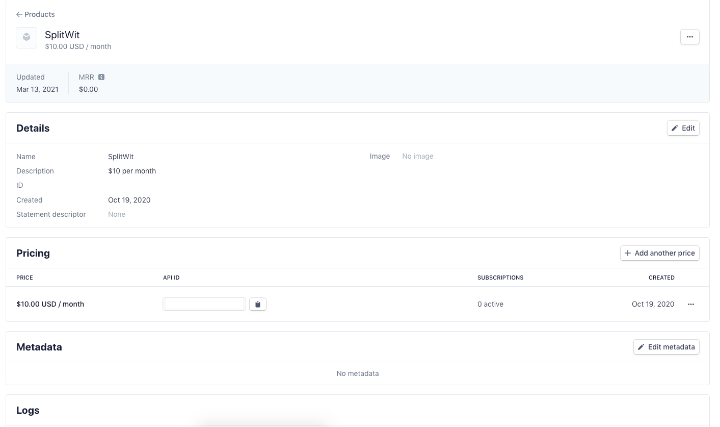 stripe product dashboard