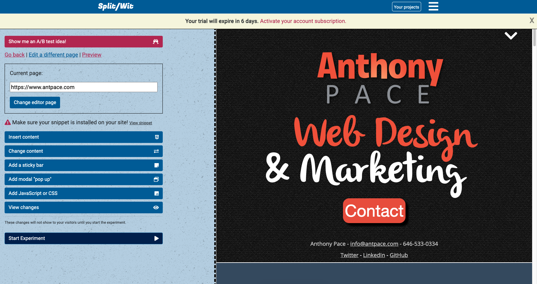 visual website editor