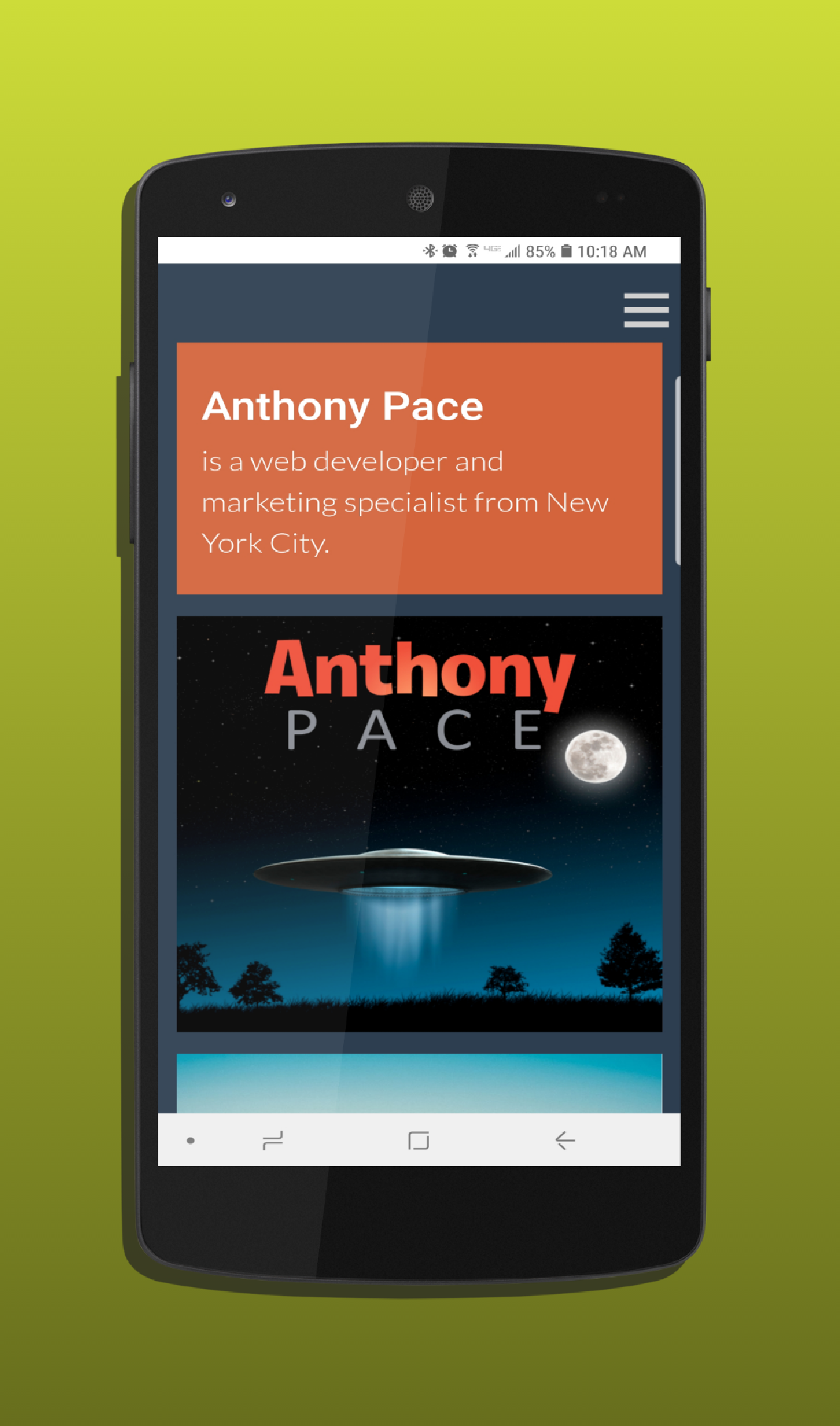 AntPace.com mobile device view