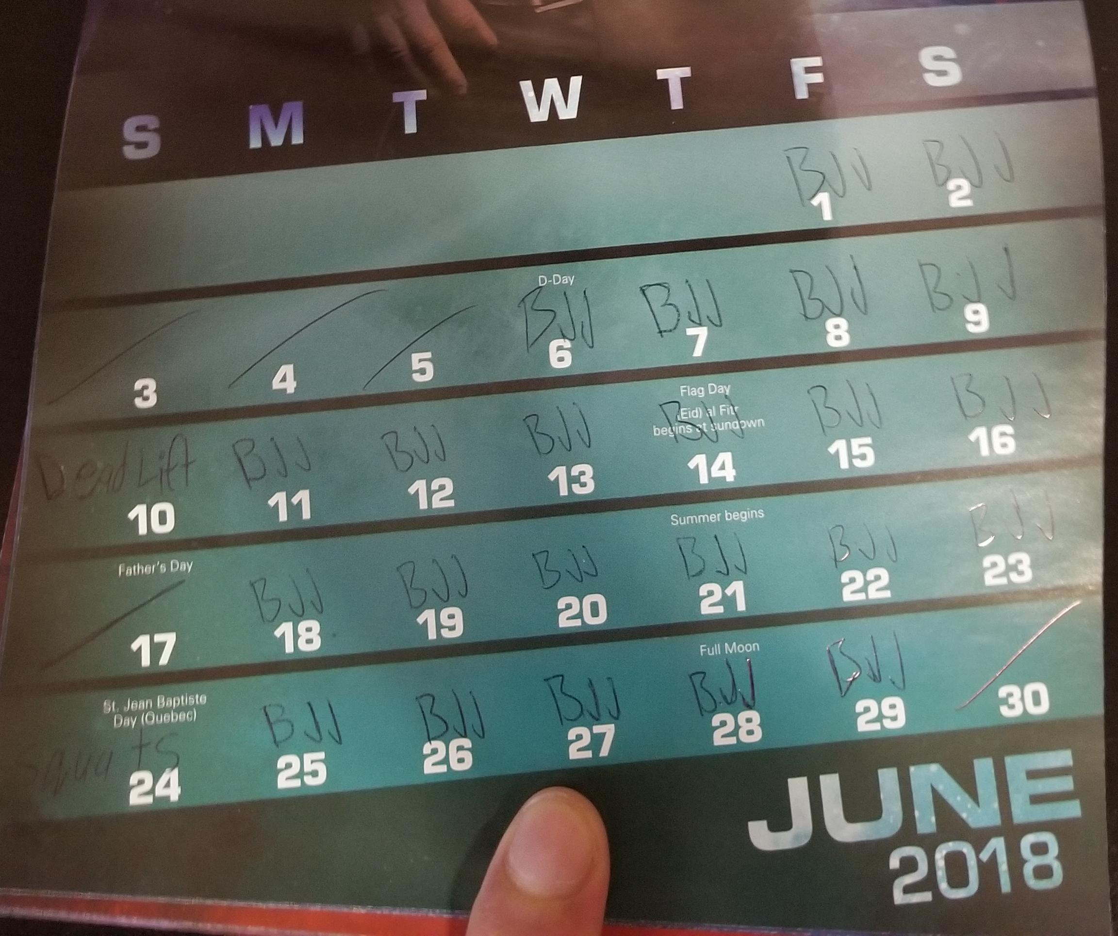 fitness tracker calendar
